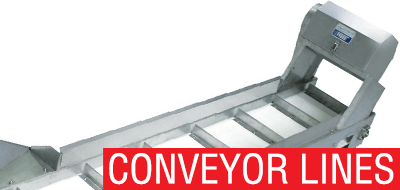 Conveyor lines for fish meat processing