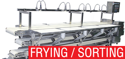 Machines for frying, sorting and food processing