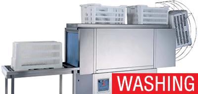 Machines for cleaning and washing of packaging and containers