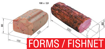 Press towers, mold presses, mesh fishnet for ham products